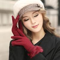 【12.12 三折����r46元】手套 女士�r尚保暖羊毛手套2019冬季新款女式�敉膺\�邮痔�W生可�|屏手套
