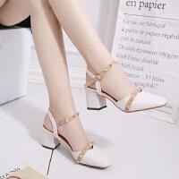 凉鞋女夏时尚女鞋一字扣带粗跟高跟鞋chic鞋子潮