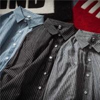 长袖衬衣男士日系修身条纹衬衫学生春季2018新款韩版翻领外套潮流