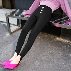 七格格铅笔裤子女生2018春季装新款韩版高腰黑色时尚chic显瘦踩脚休闲裤