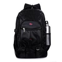 新款男士双肩包男背包女韩版潮高中学生书包休闲电脑包登山旅行包 黑色 纯黑色