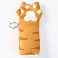 创意小清新个性拉链猫爪笔袋中小学生大容量帆布铅笔袋文具袋笔袋