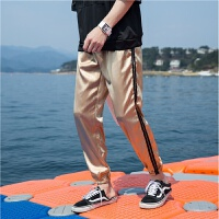 夏季哈伦运动裤学生男士韩版宽松金色休闲九分小脚裤薄款透气滑料