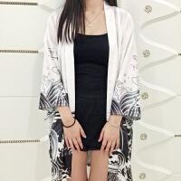 日系和风大码原宿风开衫海浪飞龙和服雪纺男女学生羽织中长款外套