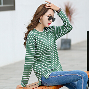 秋装新款韩版女装上衣t恤女长袖开叉条纹打底衫宽松小衫
