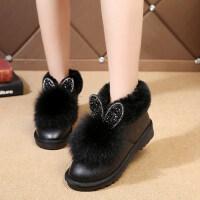 绒球平底水钻短靴兔耳朵加绒保暖短筒雪地靴厚底女靴