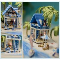 那家玻璃球小屋 相约爱琴海手工拼装建筑模型迷你房子灯塔小屋