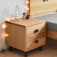 床头柜家具定制北欧现代简约全实木红橡木[左木木] 整装