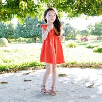 韩国童装中大儿童宝宝公主裙女童连衣裙荷叶边夏季海边度假沙滩裙