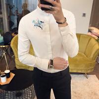 2018春季衬衫男士长袖韩版潮流修身纯色衬衣潮男刺绣小立领白寸衫