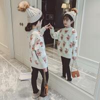 女孩冬季时尚水貂毛毛线衣潮女童冬装毛衣儿童套头打底衫