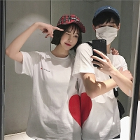 情侣装短袖T恤夏装爱心拼接印花韩版宽松棉半袖T恤男女班服