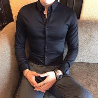 2018新款青年纯色百搭衬衫男士免烫档打底衫硬汉紧身寸衣长袖衫