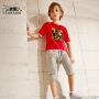 【3折价:59.7】小虎宝儿男童短袖套装潮运动中大童纯棉套装韩版童装2019新款夏季