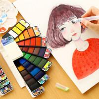 固体水彩颜料套装扇形初学者手绘透明写生彩画颜料自来水笔画笔绘画工具便携式自来水笔水粉水彩分装组合