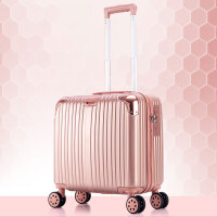 登机箱18寸行李箱包女士迷你16小型旅行箱子商务拉杆箱男20寸韩版 玫瑰金挂钩+静音万向轮816款