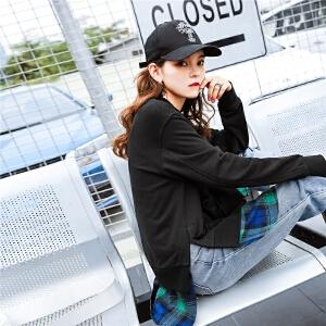 七格格外套女生原宿风2018春季装新款韩版棒球领假两件拼接休闲开衫