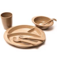 双枪儿童婴幼儿稻壳勺子叉子碗杯子学生餐具套装宝宝辅食碗DT1102