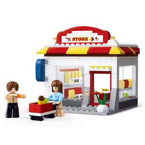 【当当自营】小鲁班模拟城市系列儿童益智拼装积木玩具 社区便利店M38-B0571