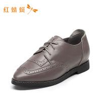 红蜻蜓女鞋低粗跟百搭时尚通勤鞋英伦真皮单鞋休闲小皮鞋-