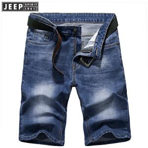 JEEP吉普夏季牛仔短裤男薄款直筒中腰牛仔五分裤男士时尚休闲韩版潮男牛仔裤