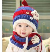 婴儿帽宝宝加绒护耳帽子 手套潮 韩版冬款儿童帽子围巾套装