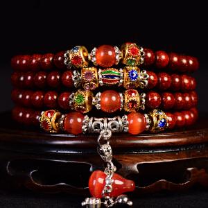 小叶紫檀带红葫芦配饰手链  6mm   33克