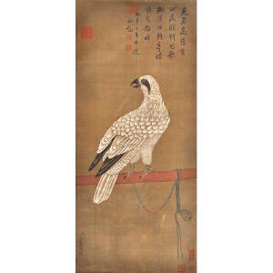 Z1442  艾启蒙《御鹰图》(乾隆御览之宝,乾隆御提。并有多位名家收藏印章)
