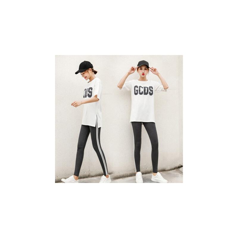 户外运动套装女、时尚休闲韩版宽松洋气短袖九分裤潮两件套