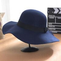 大沿复古女士毛呢帽子 欧美风波浪边黑色礼帽女 英伦赫本圆顶帽时尚