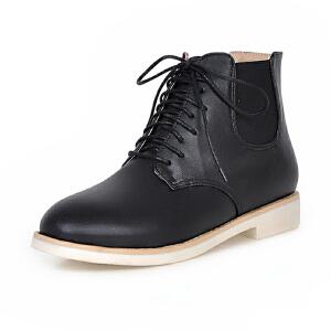ELEISE美国艾蕾莎新品秋冬176-F903韩版超纤皮平底女士马丁靴短靴
