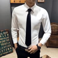 男士商务休闲衬衫大码青年韩版修身纯色长袖衬衣理发店酒吧工作服