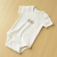 两件装 宝宝短袖三角爬服 婴幼儿连体衣哈衣 无骨缝合 夏装 670791半白灰哈衣两件