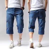 夏季牛仔七分裤短裤子男士多口袋直筒大码宽松青年休闲裤工装中裤 牛仔蓝 38