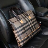 新款格子男包手提包公务公文包男皮包横款电脑商务时尚休闲单肩包