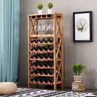 落地实木红酒架葡萄酒橡木酒柜木质展示架悬挂酒杯家用酒格置物架 实木橄榄油 7层