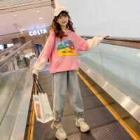 女童春装套装洋气儿童春秋时髦衣服中大童运动两件套