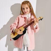 【2件5.5折到手价:150】小猪班纳童装女童棉服2019冬季新款女孩洋气呢子大衣儿童翻领外套