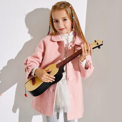 小猪班纳童装女童棉服2019冬季新款女孩洋气呢子大衣儿童翻领外套