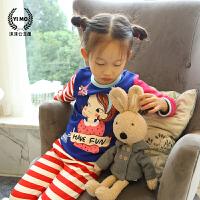 女童睡衣冬季加厚款儿童家居服套装 纯棉保暖厚卫衣+打底裤两件套
