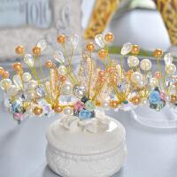韩式手工串珠新娘结婚皇冠彩色陶瓷王冠婚纱礼服发饰配饰品