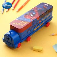 迪士尼文具盒男小学生女铁笔盒小汽车巴士多功能儿童铅笔袋幼儿园带笔削创意个性大容量双层火车头铅笔盒