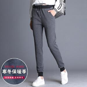 冬季新款加绒加厚显瘦松紧腰系带纯色运动长裤休闲裤