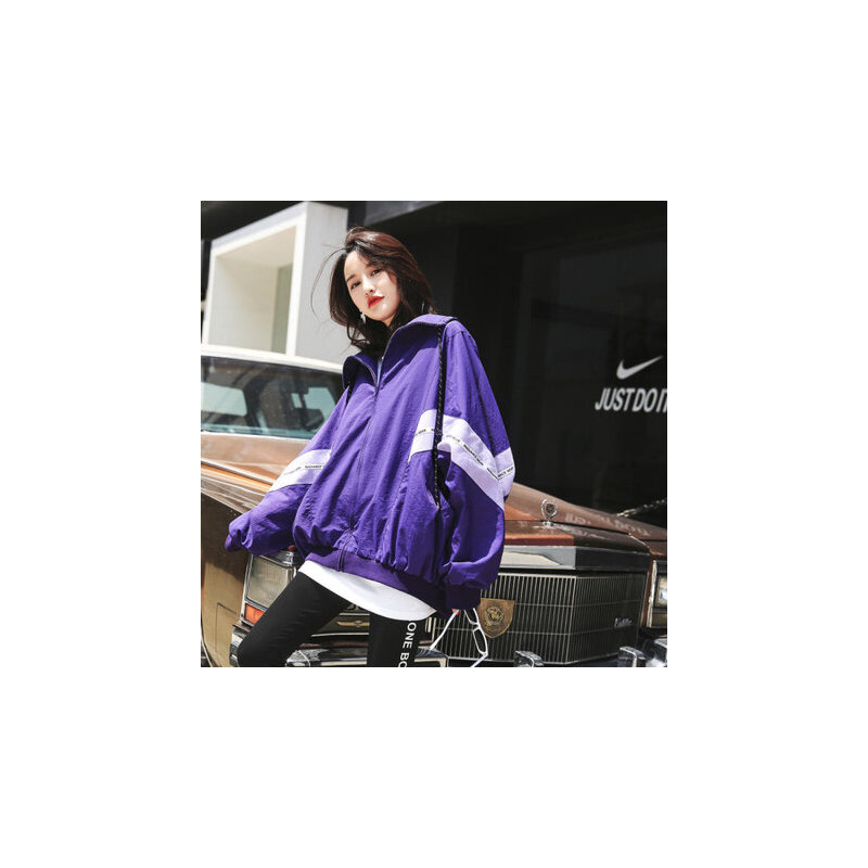 七格格紫色外套女春秋季装新款韩版宽松学生嘻哈棒球服夏季薄款短款