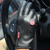 户外运动手套开车骑行男女防滑触屏运动保暖加绒防水皮手套