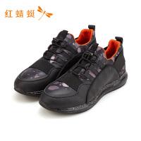 红蜻蜓男鞋男士跑鞋休闲旅游皮面鞋子时尚舒适运动鞋