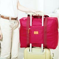 �n版防水尼��折�B式旅行收�{包 旅游收�{袋 男女士衣服整理袋 玫�t色收�{包