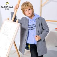 【2件3折折后到手价299.4】马克华菲童装男童冬装新款加厚儿童毛呢大衣长款潮棉衣外套