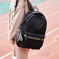 初高中生书包女学生韩版校园风时尚简约双肩包大学生帆布旅行背包 黑色 大号装15.6寸电脑