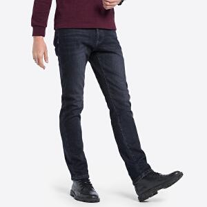 骆驼男装 秋冬新款男士加绒加厚牛仔裤直筒商务保暖长裤子男